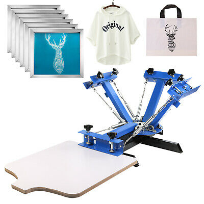 4 Color 1 Station Silk Screen Printing Machine 6 Pcs 110 Mesh T-shirt Press Kit