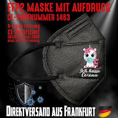 FFP2 Maske Mundschutz Mundmaske schwarz CE 1463 Einhorn Unicorn Ich hasse Corona