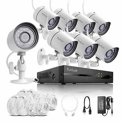Funlux 1080p 8CH HDMI NVR w/ 8 720p IP CCTV IR-cut Camera Home Security System