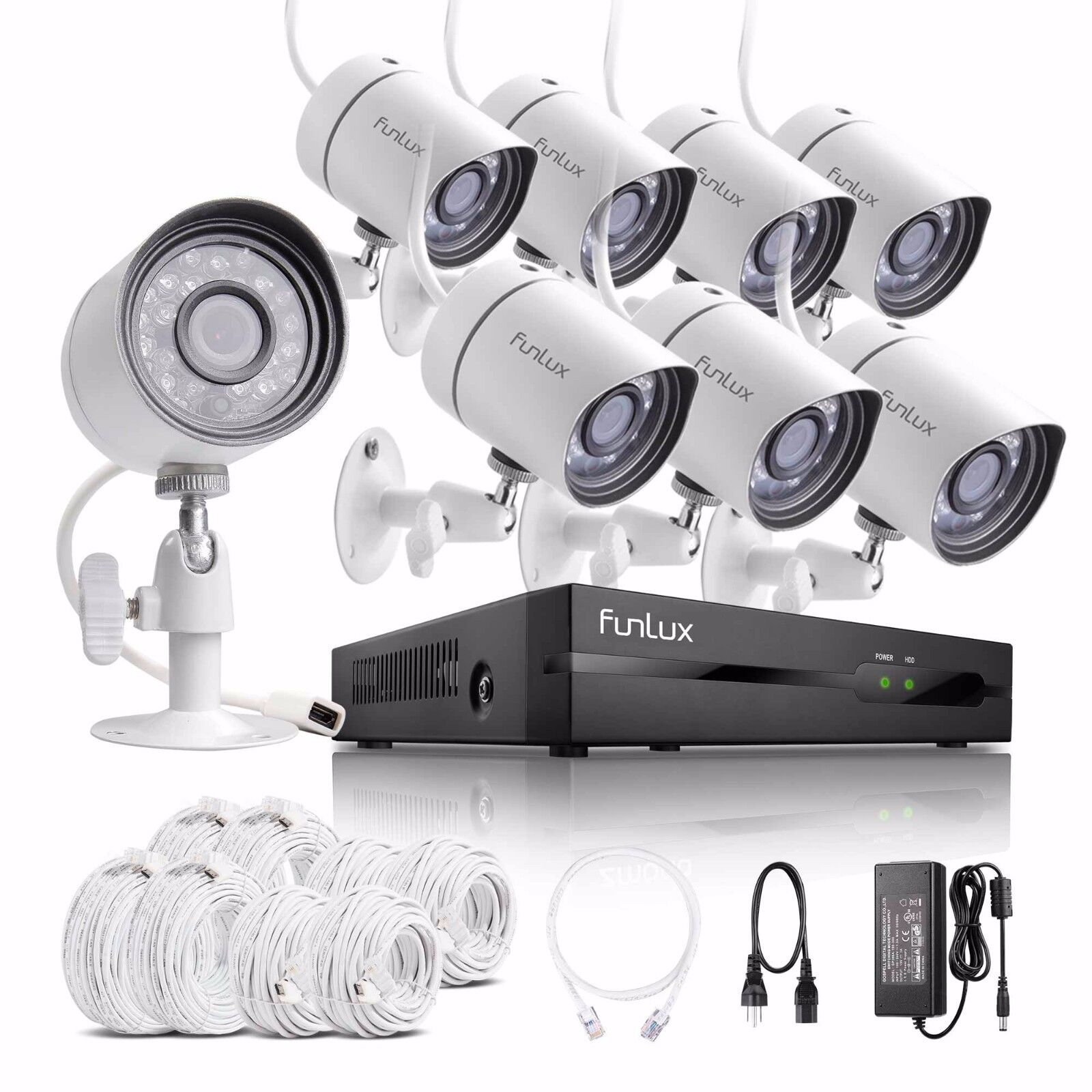 Купить Funlux - Funlux 1080p 8CH HDMI NVR w/ 8 720p IP CCTV IR-cut Camera Home Security System
