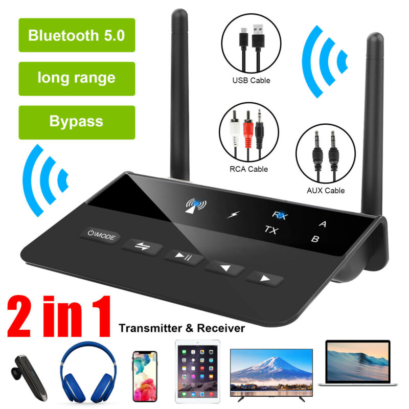 Long Range Bluetooth 5.0 Transmitter Receiver Apt-X HD Low Latency Audio Adapter