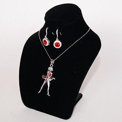 7hx6h Black Velvet Earring Necklace Display Bust Chain Pendant Earring Ja11eb1
