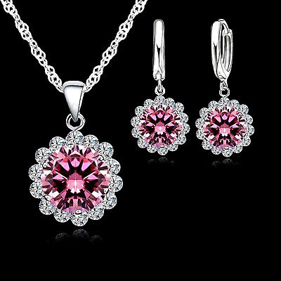 Silver Plated Pink And White Cubic Zirconia Necklace And Earrings Set ()