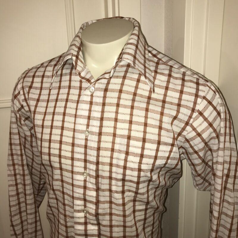 Vtg 50s 60s Plaid CREIGHTON SHIRTMAKERS retro Polycotton Dress shirt Mens 16 4