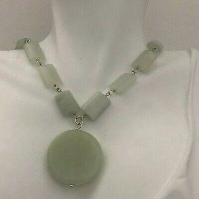 Light Green Jade Gemstones Beads, round pendant Designer Choker Necklace 15.5