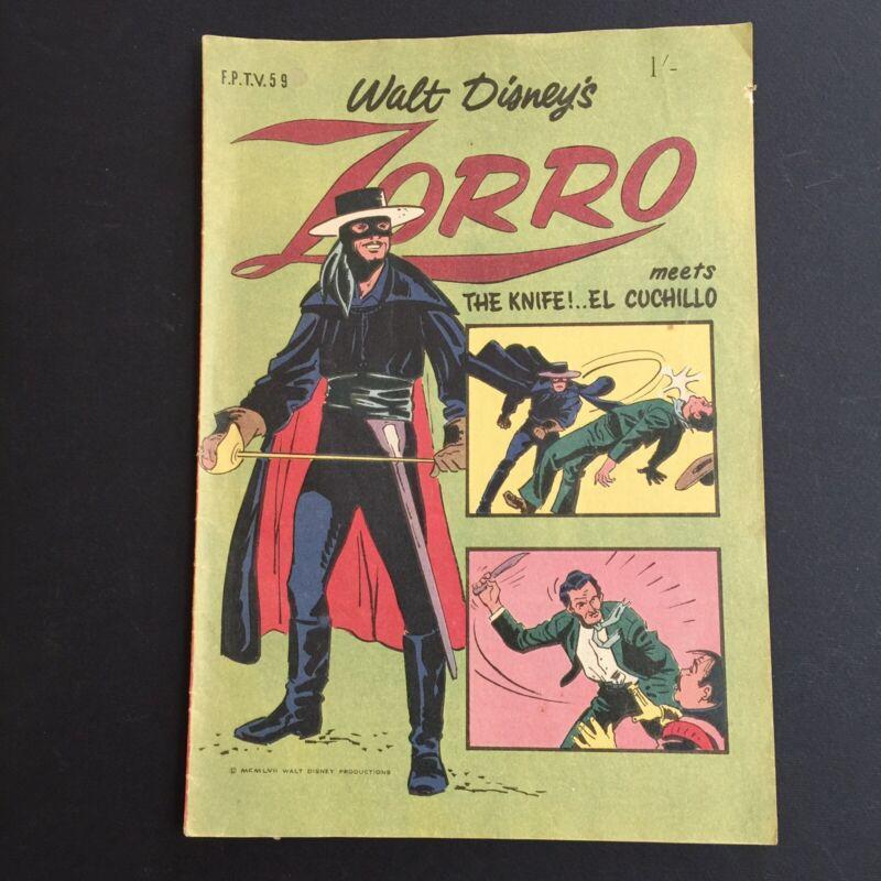 Vintage Walt Disney Comic ZORRO 1964 Australian W G Publications F.P.T.V.59