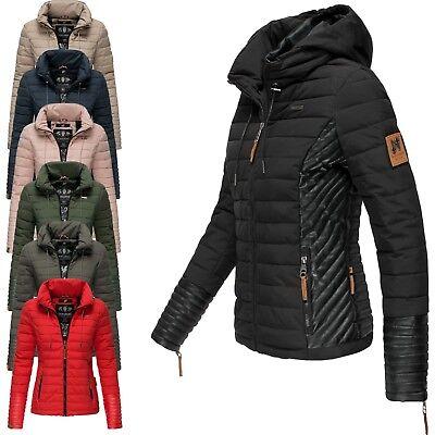 Navahoo Premium Damen Jacke Steppjacke Kunstleder Frühling Übergangsjacke  Gini