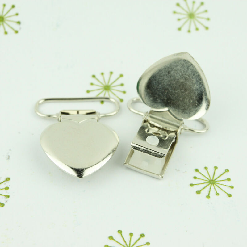 Metal Suspender Clips - 1 INCH - Heart Shaped Clip Dummy/Pacifier/Paci/MAM