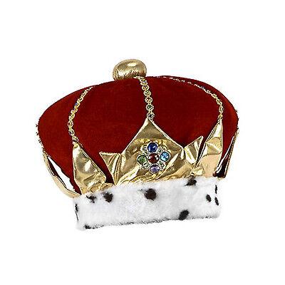 Adult Men's Royal King Ruler Red Velvet Jeweled Halloween Costume Crown Hat