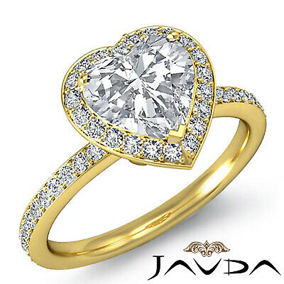 2 ct Halo Pave Heart Diamond Engagement Brilliant Ring 14K White Gold F SI1 GIA 8
