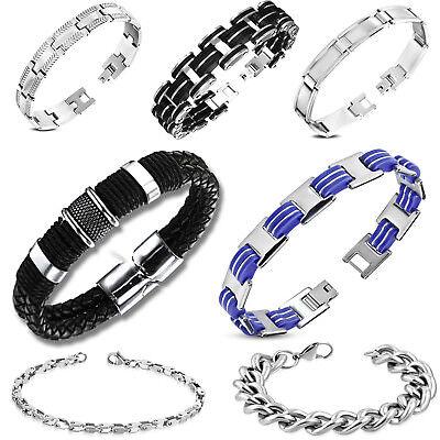 Armband für Männer Herren Edelstahl Echt Leder Stahl Silber Biker Motorrad - Herren Armbänder