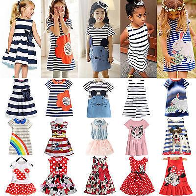 Kids Girls Swing Skater Dress Princess Summer Casual Party Tunic Tunika - Girls Sun Dress