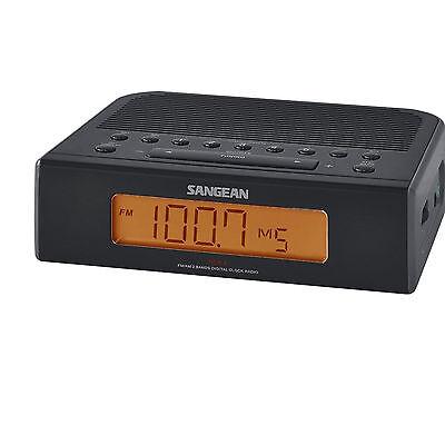 Sangean RCR-5BK Portable AM/FM Digital Tuning Clock Radio with Dual Alarms Black