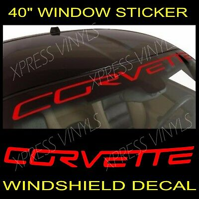 Chevy Corvette Windshield Vinyl Decal Sticker Banner RED