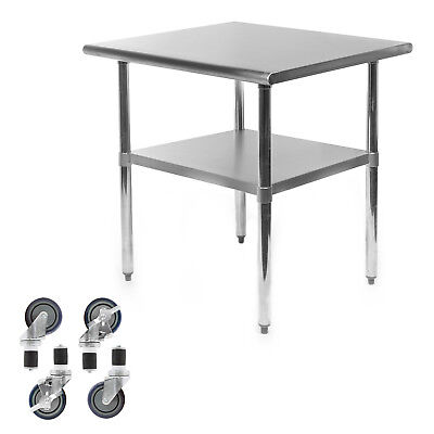 Commercial Stainless Steel Kitchen Food Prep Work Table W 4 Casters - 24 X 30