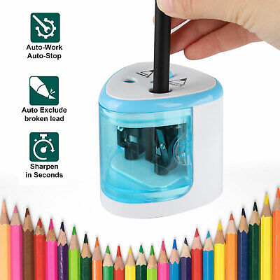 Automatic Electric Touch Switch 2 Holes Pencil Sharpener School Office Tool Blue