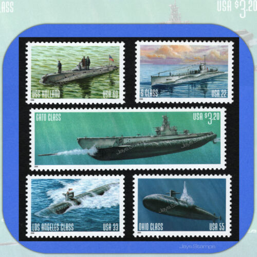 2000  U.s. Navy Submarines  Complete Set Of 5  Mint Stamps With Bonus   #3373-77