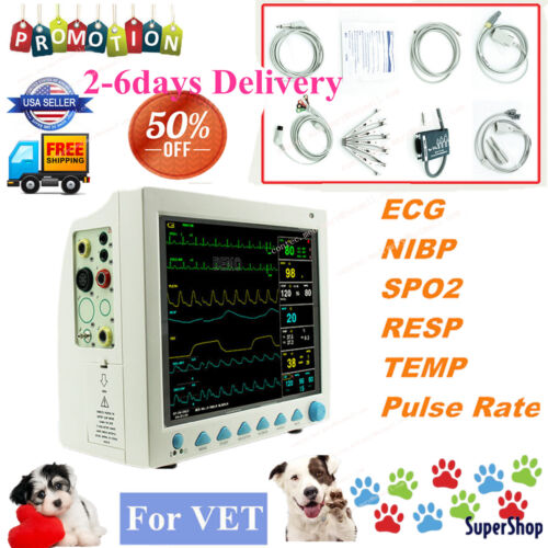 Vet Veterinary Monitoring Icu Vital Sign Icu Patient Monitor 6 Parameters Fda Ce