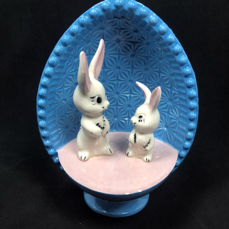 """Vintage Ceramic Easter Egg Bunny Diorama 6"""" hand painted 1970's"""