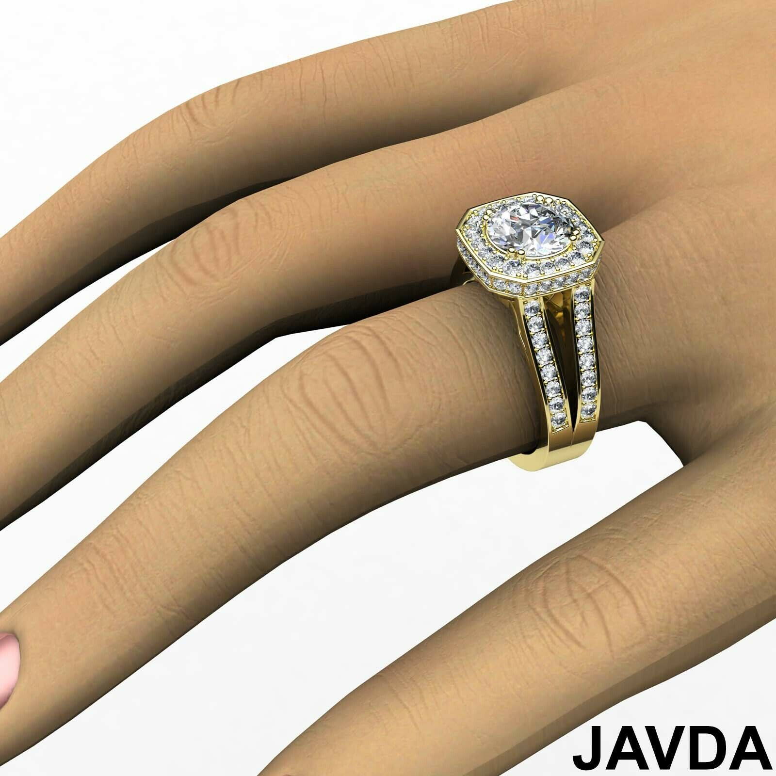 Hexagon Halo Split Shank Round Diamond Engagement Ring GIA F VS1 Clarity 2.84Ct 11