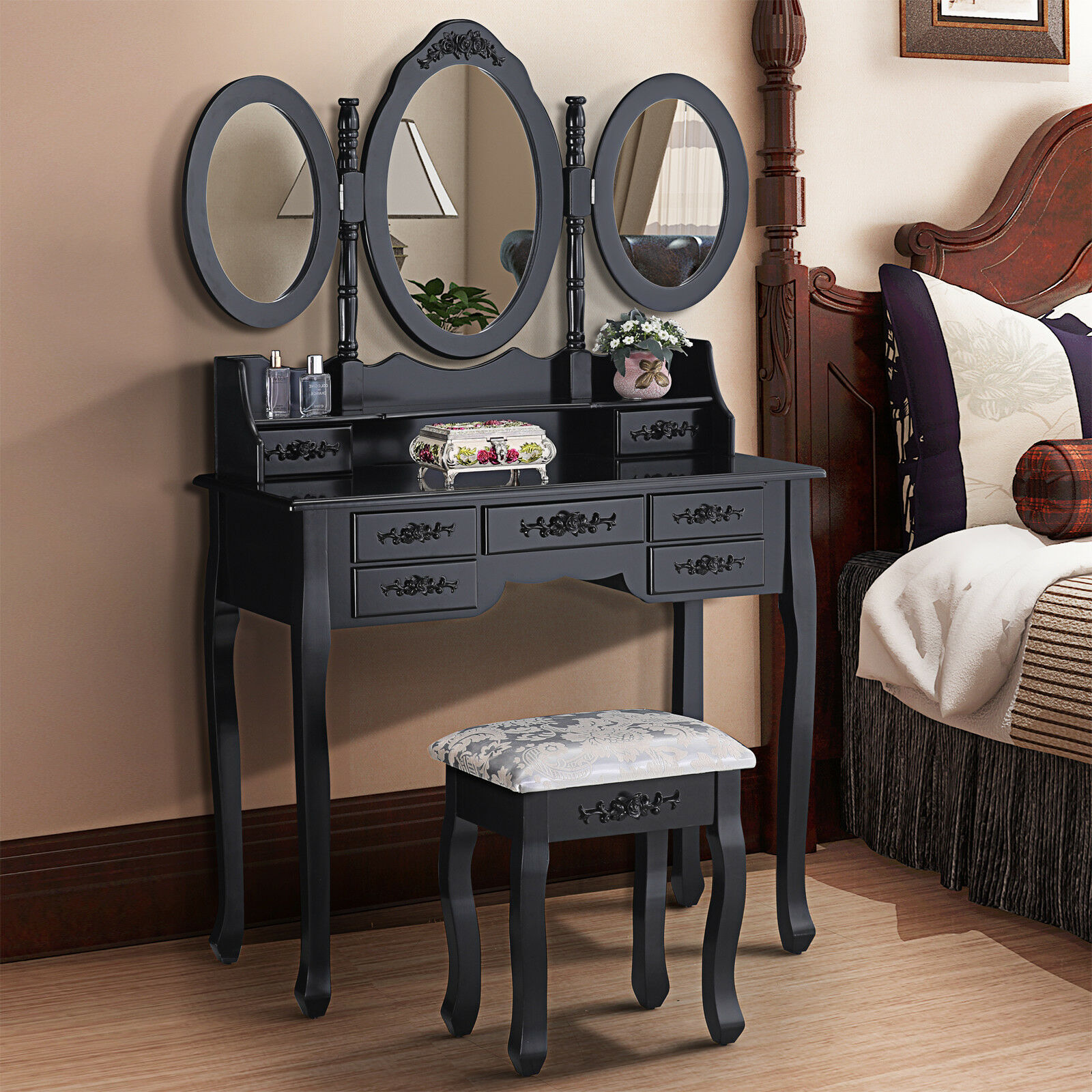 Black Dressing Table Vanity Makeup Desk Stool Set With 3 Mirrors 7 Drawers