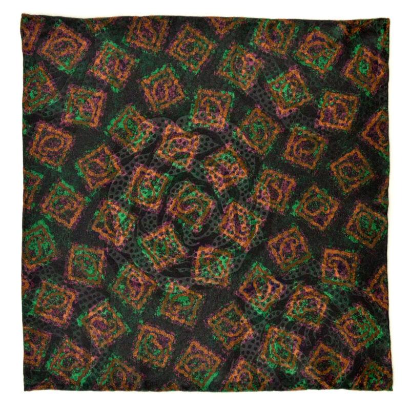 "New SANTOSTEFANO Black Brown Green 12"" Silk Pocket Square Handkerchief NWT $150"