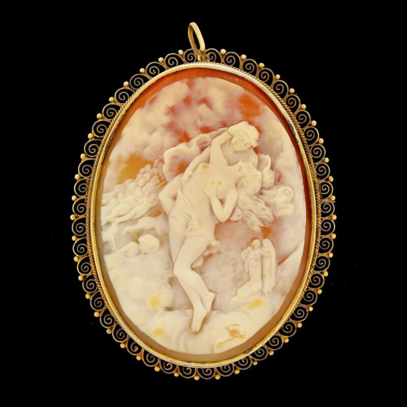 Vtg Victorian Silver Carved Cameo Pin Brooch Figural Lady Nude Lovers Pendant