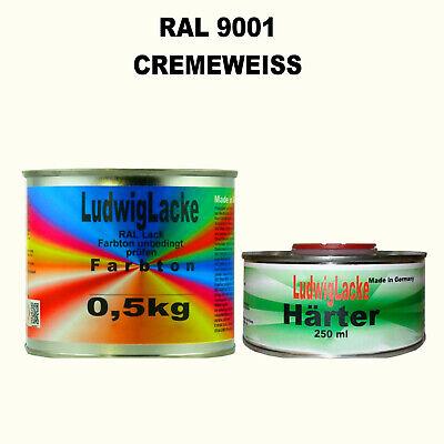 RAL 9001 Cremeweiß Cremeweiss Acryllack 0,75 kg glänzend mit Härter