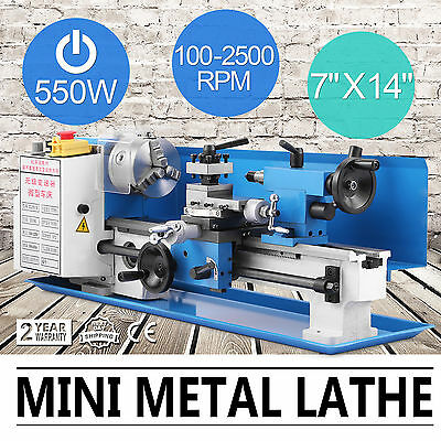 550w Precision Mini Metal Lathe Metalworking Metal Turning Variable Speed 7x14