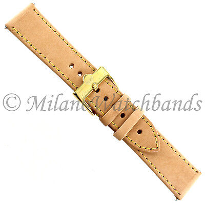 20mm Glam Rock Hand Made Tan W/ Yellow Stitching Genuine Leather Watch Bands
