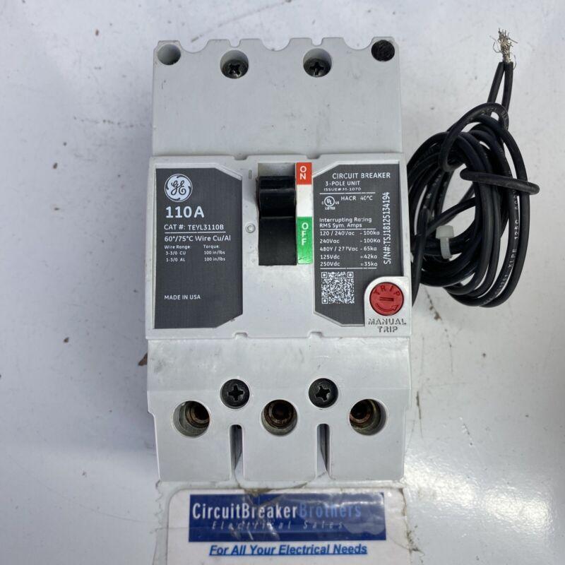 GE TEYL3110B 110 Amp 480 V 3 Pole TEYL Shunt Trip Circuit Breaker New Take-Out