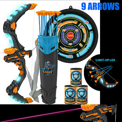 New Best Set Kids Bow & Arrow Archery with LED - Great Toy 4 Indoor-Outdoor Game