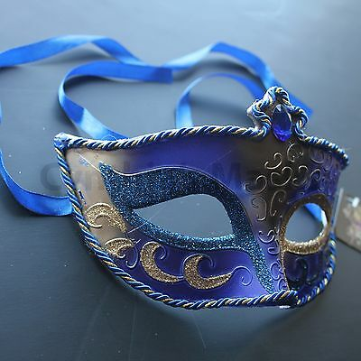 Royal Blue Venetian Masquerade Mask Party Prom Mardi Gras Halloween Costume  - Halloween Blues