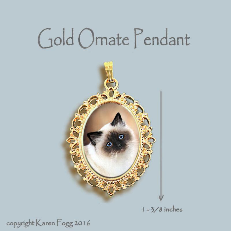 BIRMAN LONGHAIR Cat -ORNATE GOLD PENDANT NECKLACE