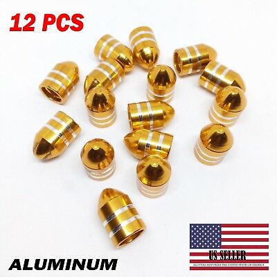 12 X GOLD ALUMINUM BULLET STYLE TIRE/RIM VALVE AIR PORT COVER STEMS CAP/CAPS