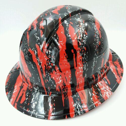 New Custom pyramex (Full Brim) Hard Hat HYDRO DIPPED IN RED URBAN CAMO FILM 2 3
