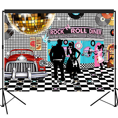 50s Rock N Roll Diner Backdrop Party Decoration Photography Background 7x5 feet - 50s Party Decor