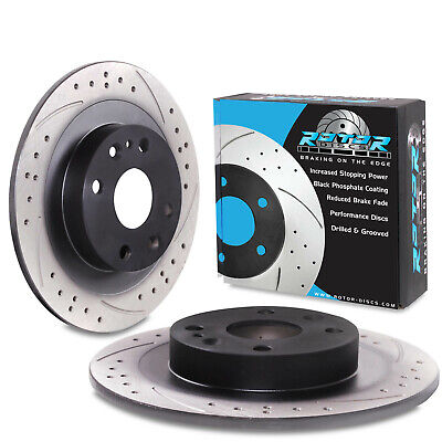 REAR DRILLED GROOVED 250mm BRAKE DISCS PAIR FOR MAZDA 323 C F S MX5 MX-5 MK1 1.8