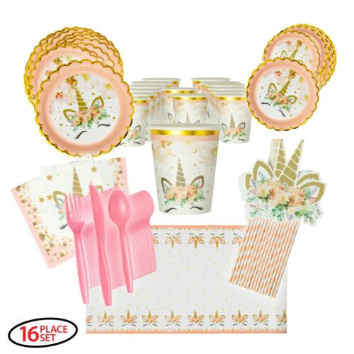 Unicorn Party Supplies with Scalloped Plates and Gold Trim for 16 guests