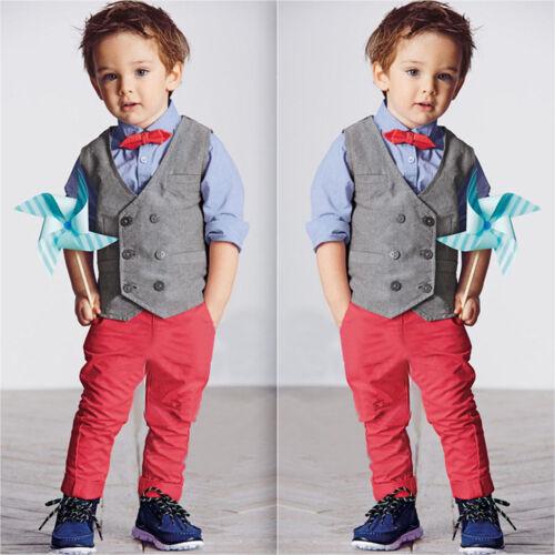 Kinder Baby Jungen Gentleman Anzug Hochzeit Weste + Hemd + Hose Outfit Kleidung