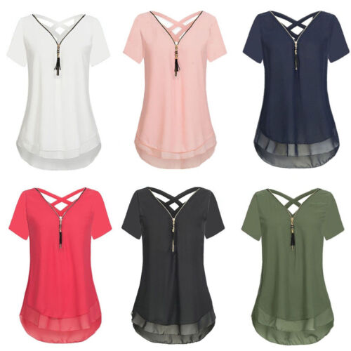 Damen Sommer Oberteile Chiffon Longshirt T Shirt Tunika Top Longbluse Hemd 32-46