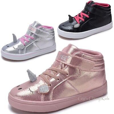 Girls Pink Blush Silver Black Unicorn High Top Sneakers Tennis Shoes Kids Youth ](Pink Girls Shoes)
