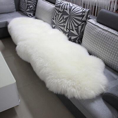 Öko Lammfell Schaffell Teppich Sofa Matte echtes Fell weiß 180-210cm TP3513ws-L ()