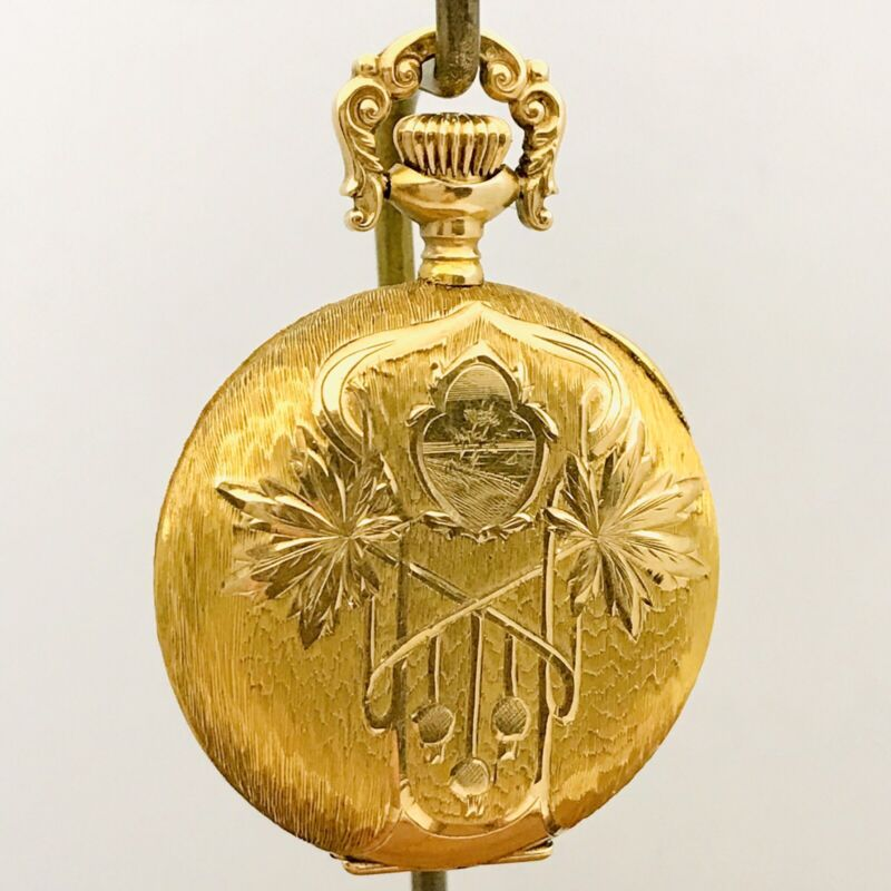 Mint Solid 14K Gold 1907 Rockford 0S 17J Ladies Full Hunter Pendant Pocket Watch