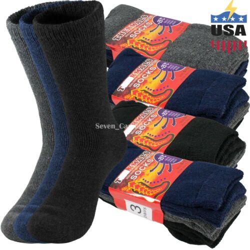 Lot 3-12 Pairs Mens Warm Heavy Duty Winter Thermal Heated Boots Wool Socks 9-13