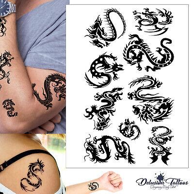 Tribal Dragon Temporary Tattoo Set - Black Waterproof Mens Womens Kids Body Art ()