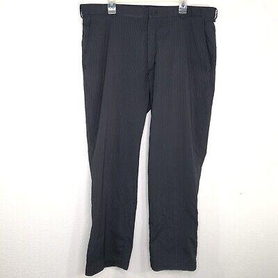 "Nike Golf Dri Fit 40x32 Black Gray Stripe Stretch Polyester Pants Inseam 30"""