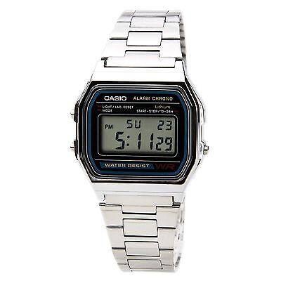 CASIO A158W-1 Unisex Classic Silver Digital Chronograph Sport Watch NEW