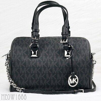 New Michael Kors GRAYSON Black Logo Crossbody Chain Satchel Purse Bag $348
