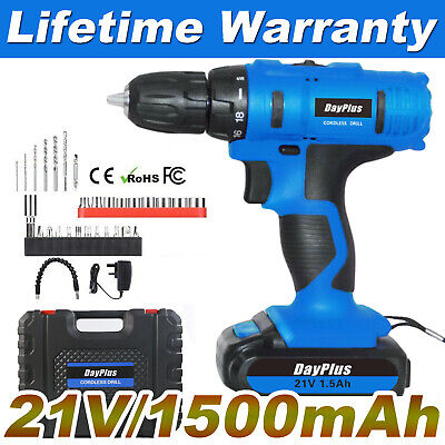 BEST - CORDLESS DRILL 21V SET DRIVER LI-ION ELECTRIC SCREWDRIVER WORKLIGHT